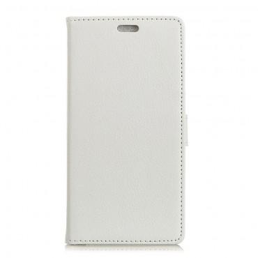 """Elegáns """"Litchi"""" tárca Samsung Galaxy A7 2018 készülékekhez – fehér"""