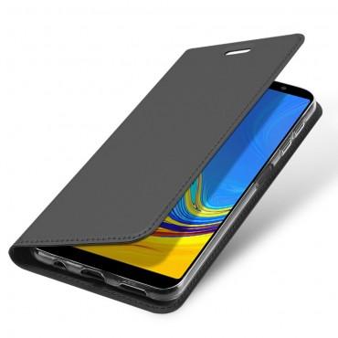 """Divatos """"Skin"""" műbőr tárca Samsung Galaxy A7 2018 készülékekhez – szürke"""
