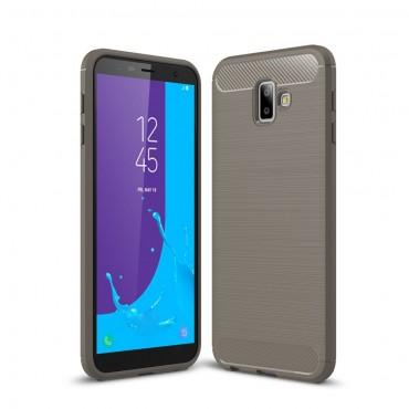 Brushed Carbon TPU géles védőtok Samsung Galaxy J6 Plus készülékekhez - szürke