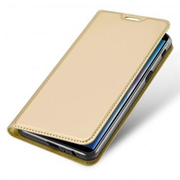 """Divatos """"Skin"""" műbőr tárca Samsung Galaxy J6 Plus készülékekhez - aranyszínű"""