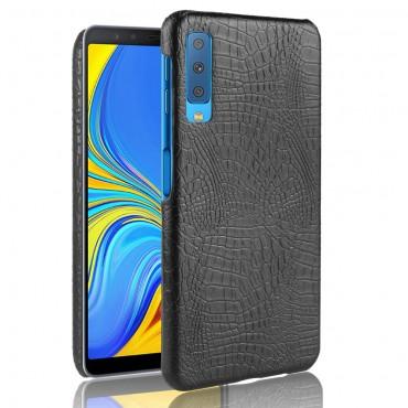 """Valódi bőr """"Croc"""" prémium védőtok Samsung Galaxy A7 2018 készülékekhez – fekete"""
