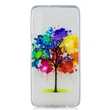 """Vékony TPU géles """"Rainbow Tree"""" védőtok Samsung Galaxy A7 2018 készülékekhez – rózsaszín"""