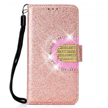 """Divatos """"Glitter"""" tárca Samsung Galaxy J6 Plus készülékekhez - rózsaszín"""