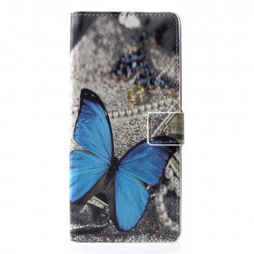 """Divatos """"Blue Buttefly"""" tárca Samsung Galaxy J6 Plus készülékekhez"""