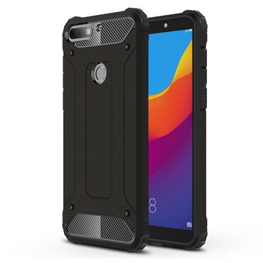 """Strapabíró """"Rock"""" védőtok Huawei Y7 Prime 2018 / Y7 2018 készülékekhez – fekete"""