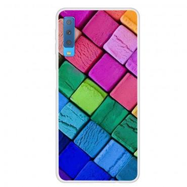 """Vékony TPU géles """"Rainbow Blocks"""" védőtok Samsung Galaxy A7 2018 készülékekhez – rózsaszín"""