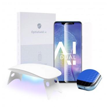 2x Prémium minőségű Optishield Lux védőüveg Huawei Mate 20 Pro készülékekhez + UV lámpa