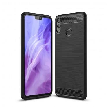 Brushed Carbon TPU géles védőtok Huawei Honor 8X készülékekhez - fekete