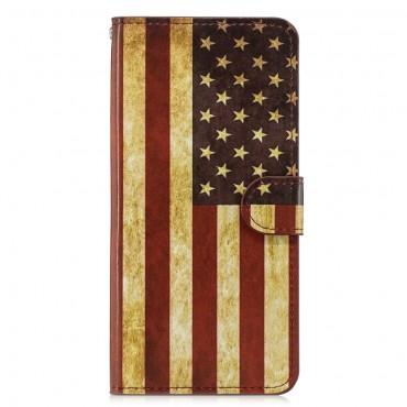 """Divatos """"Retro USA"""" tárca Huawei Honor 8X készülékekhez"""