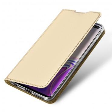 """Divatos """"Skin"""" műbőr tárca Samsung Galaxy S10 Plus készülékekhez – aranyszínű"""