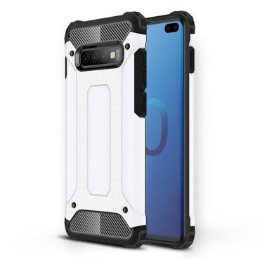 """Strapabíró """"Rock"""" védőtok Samsung Galaxy S10 Plus készülékekhez – fehér"""