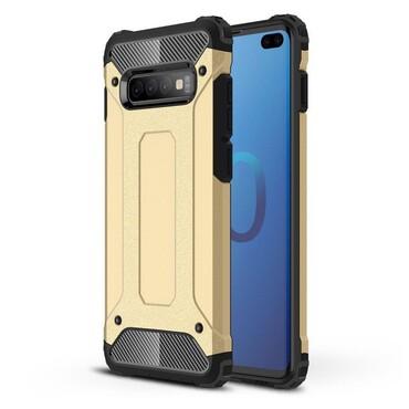 """Strapabíró """"Rock"""" védőtok Samsung Galaxy S10 Plus készülékekhez – aranyszínű"""