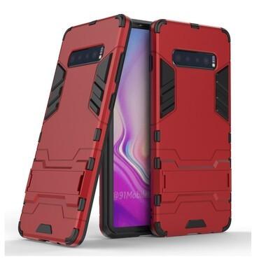 """Strapabíró """"Impact X"""" védőtok Samsung Galaxy S10 Plus készülékekhez – piros"""