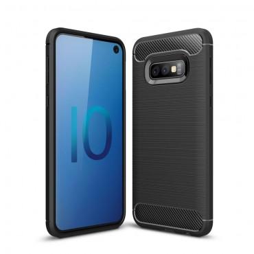 Brushed Carbon TPU géles védőtok Samsung Galaxy S10e készülékekhez – fekete