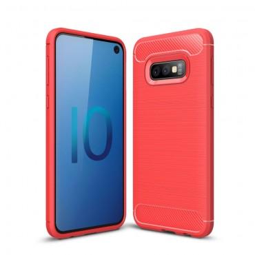 Brushed Carbon TPU géles védőtok Samsung Galaxy S10e készülékekhez – piros