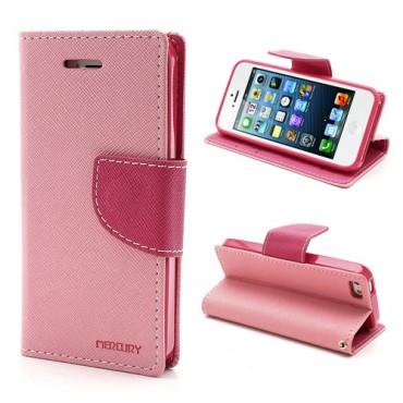 Goospery Fancy Diary tárca iPhone SE / 5 / 5S készülékekhez – rózsaszín