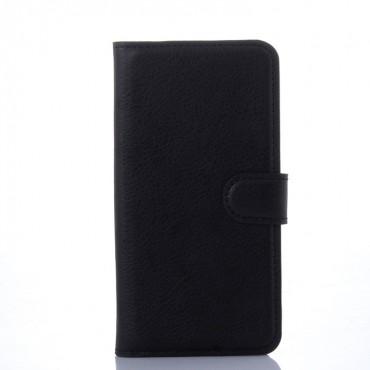 """Elegáns """"Litchi"""" műbőrtárca Samsung Galaxy S6 készülékekhez – fekete"""