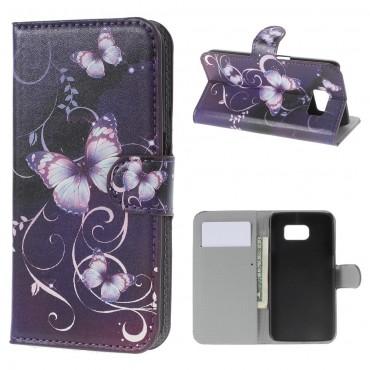 """Divatos """"Purple Butterfly"""" tárca Samsung Galaxy S6 készülékekhez"""